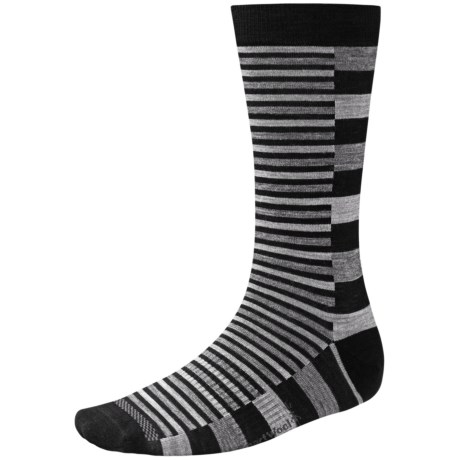 SmartWool Split Stripe Socks - Merino Wool, Crew (For Men) in Black