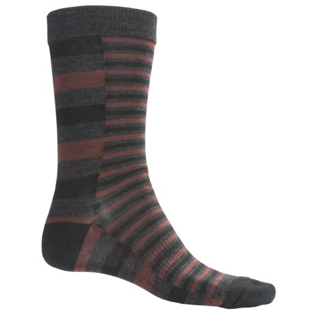 SmartWool Split Stripe Socks - Merino Wool, Crew (For Men) in Charcoal Heather
