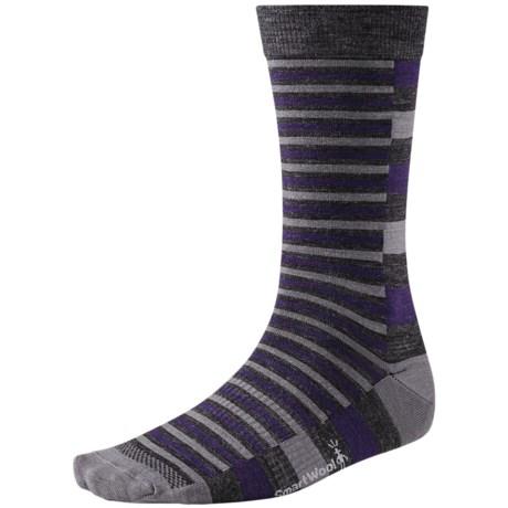 SmartWool Split Stripe Socks - Merino Wool, Crew (For Men) in Charcoal Trim Purple Stripe