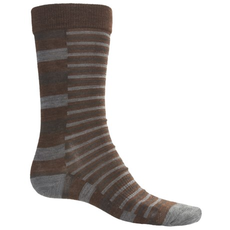 SmartWool Split Stripe Socks - Merino Wool, Crew (For Men) in Espresso Heather