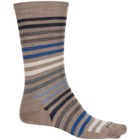 SmartWool Spruce Street Striped Socks - Merino Wool, Crew (For Men) in Fossil Heather