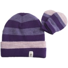 SmartWool Stripe Beanie Hat and Mitten Set - Merino Wool (For Kids) in Grape - Closeouts
