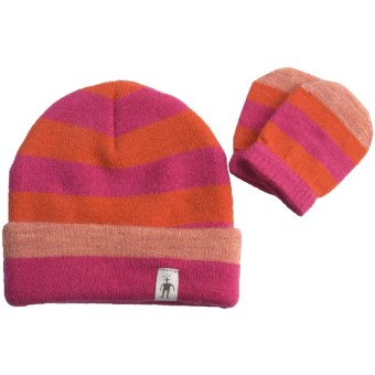 SmartWool Stripe Beanie Hat and Mitten Set - Merino Wool (For Kids) in Peony