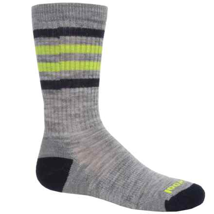 SmartWool Stripe Hike Light Socks - Merino Wool, Crew (For Little and Big Kids) in Light Gray - 2nds