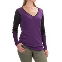 SmartWool Stripe Sweater - Merino Wool, V-Neck (For Women) in Purple Heather - Closeouts
