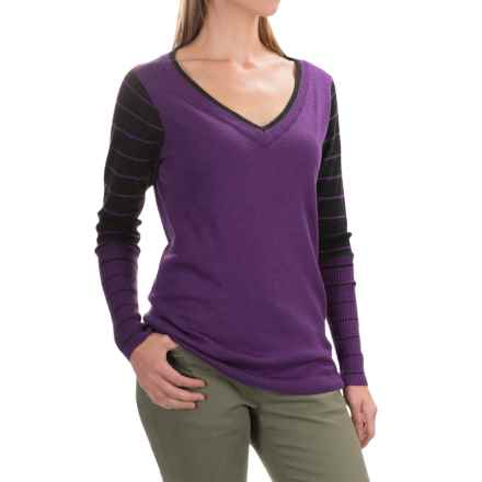 SmartWool Stripe Sweater - Merino Wool, V-Neck (For Women) in Purple Heather - Closeouts