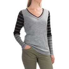 SmartWool Stripe Sweater - Merino Wool, V-Neck (For Women) in Silver Grey Heather - Closeouts