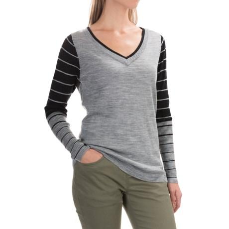 SmartWool Stripe Sweater - Merino Wool, V-Neck (For Women) in Silver Grey Heather