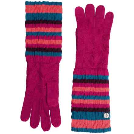 SmartWool Striped Chevron Gloves - Merino Wool (For Men and Women) in Berry - Closeouts