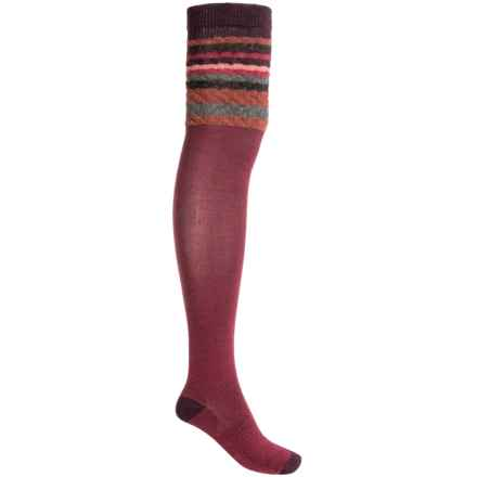 SmartWool Striped Chevron Socks - Merino Wool, Over-the-Knee (For Women) in Persian Red Heather - 2nds