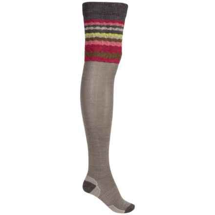 SmartWool Striped Chevron Socks - Merino Wool, Over-the-Knee (For Women) in Taupe - 2nds