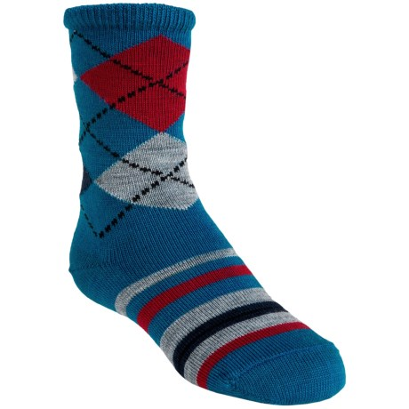 SmartWool Striped Diamond Gym Socks - Merino Wool, Crew (For Kids and Youth) in Taupe Heather