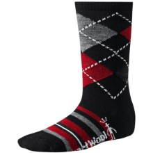 SmartWool Striped Diamond Gym Socks - Merino Wool, Crew (For Kids and Youth) in Black - 2nds