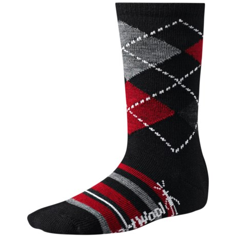 SmartWool Striped Diamond Gym Socks - Merino Wool, Crew (For Kids and Youth) in Black