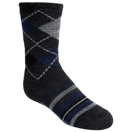 SmartWool Striped Diamond Gym Socks - Merino Wool, Crew (For Kids and Youth) in Charcoal Heather