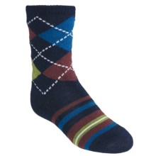 SmartWool Striped Diamond Gym Socks - Merino Wool, Crew (For kids and Youth) in Deep Navy Heather - 2nds