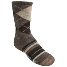 SmartWool Striped Diamond Gym Socks - Merino Wool, Crew (For Kids and Youth) in Taupe Heather - 2nds