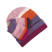 SmartWool Striped Hat and Mitten Set - Merino Wool (For Infants) in Magenta - Closeouts