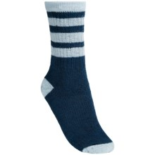 SmartWool Striped Hike Light Socks - Merino Wool, Crew (For Women) in Deep Sea/Clearwater - 2nds