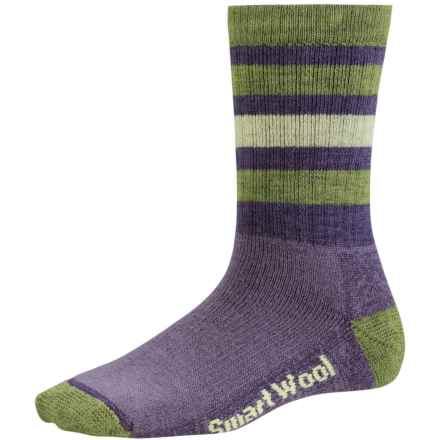 SmartWool Striped Hike Light Socks - Merino Wool, Crew (For Women) in Desert Purple/Smartwool Green - 2nds
