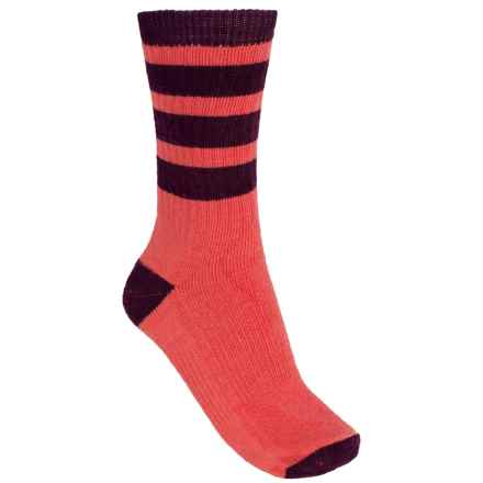 SmartWool Striped Hike Light Socks - Merino Wool, Crew (For Women) in Poppy - 2nds