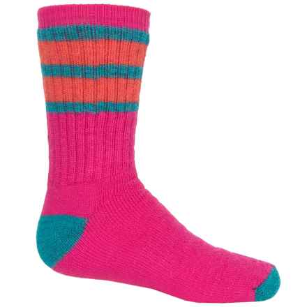 SmartWool Striped Hike Medium Socks - Merino Wool, Crew (For Big Kids) in Capri/Poppy - 2nds