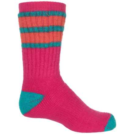 SmartWool Striped Hike Medium Socks - Merino Wool, Crew (For Big Kids) in Capri/Poppy - Closeouts