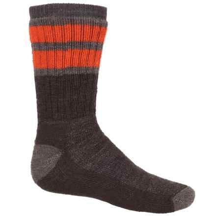 SmartWool Striped Hike Medium Socks - Merino Wool, Crew (For Big Kids) in Chestnut/Taupe - 2nds