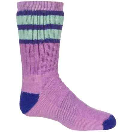 SmartWool Striped Hike Medium Socks - Merino Wool, Crew (For Big Kids) in Lilac - Closeouts