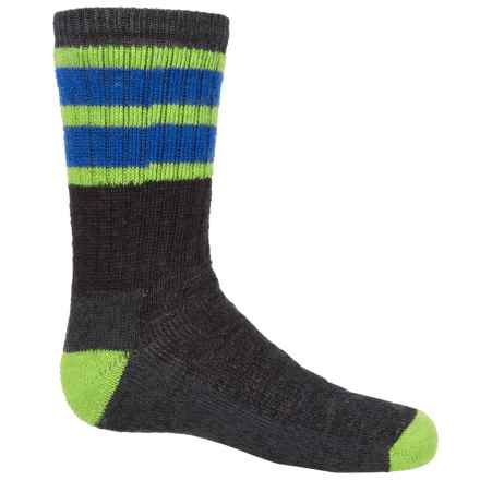 SmartWool Striped Hike Medium Socks - Merino Wool, Crew (For Big Kids) in Smartwool Green/Bright Blue - 2nds