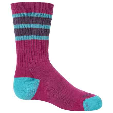 SmartWool Striped Hike Medium Socks - Merino Wool, Crew (For Little and Big Kids) in Berry - 2nds