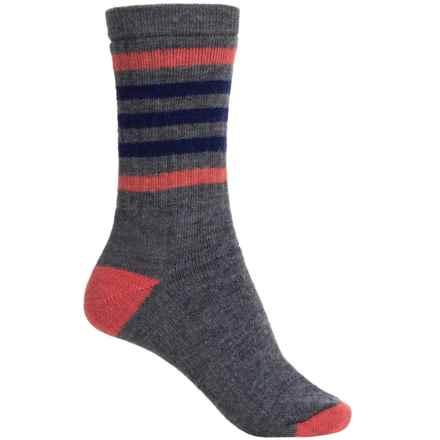 SmartWool Striped Hike Medium Socks - Merino Wool, Crew (For Women) in Medium Grey/Hibiscus - Closeouts