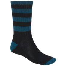 SmartWool Striped Hike Socks - Merino Wool, Crew (For Men and Women) in Black/Deep Sea - 2nds