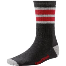 SmartWool Striped Hike Socks - Merino Wool, Crew (For Men and Women) in Black/Light Gray - Closeouts