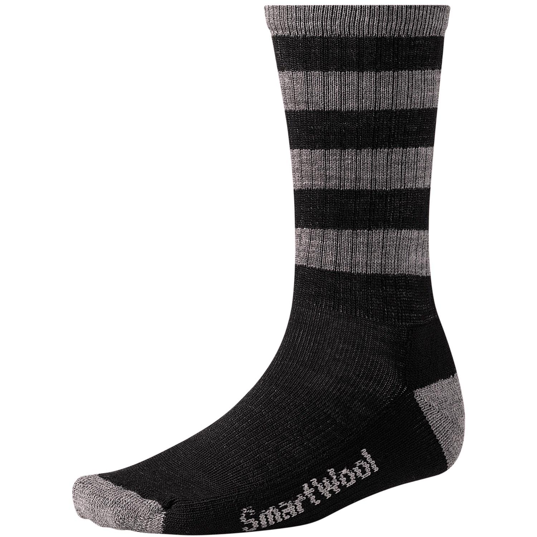 Black and white striped wool socks