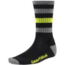 SmartWool Striped Hike Socks - Merino Wool, Crew (For Men and Women) in Black - 2nds
