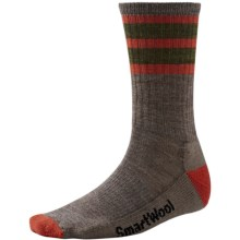 SmartWool Striped Hike Socks - Merino Wool, Crew (For Men and Women) in Taupe/Moab Rust - 2nds