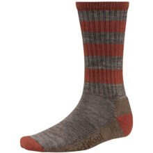 SmartWool Striped Hike Socks - Merino Wool, Crew (For Men and Women) in Taupe - 2nds