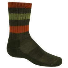 SmartWool Striped Hiking Socks - Merino Wool, Crew (For Little and Big Kids) in Loden - Closeouts
