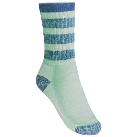 SmartWool Striped Hiking Socks - Merino Wool, Midweight, Crew (For Women) in Spearmint/Arctic Blue - 2nds