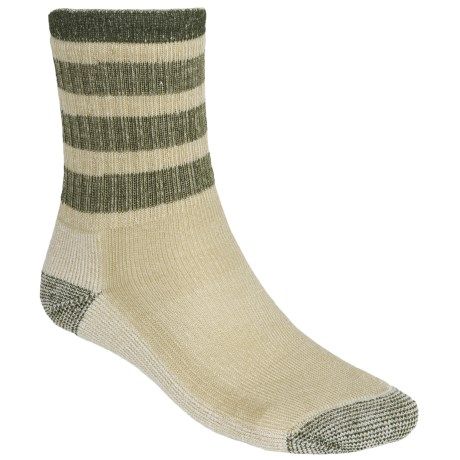 SmartWool Striped Hiking Socks - Midweight, Merino Wool, Crew (For Men and Women) in Oatmeal/Loden
