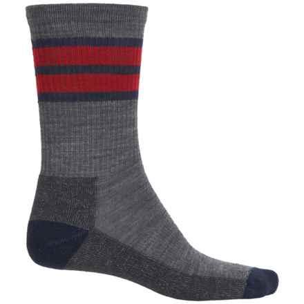 SmartWool Striped Light Hike Socks - Merino Wool, Crew (For Men and Women) in Medium Gray - Closeouts