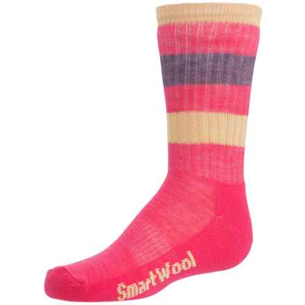 SmartWool Striped Light Hiking Socks - Merino Wool, Crew (For Little and Big Kids) in Bright Pink/Yellow - Closeouts