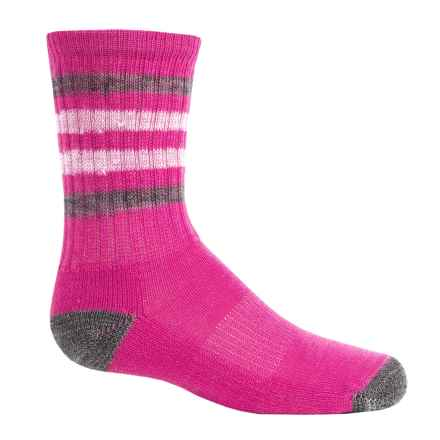 SmartWool Striped Light Hiking Socks - Merino Wool, Crew (For Little and Big Kids) in Bright Pink - Closeouts