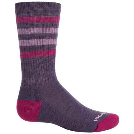 SmartWool Striped Lightweight Hike Socks - Merino Wool, Crew (For Little and Big Kids) in Desert Purple - Closeouts