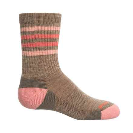 SmartWool Striped Lightweight Hike Socks - Merino Wool, Crew (For Little and Big Kids) in Fossil - Closeouts