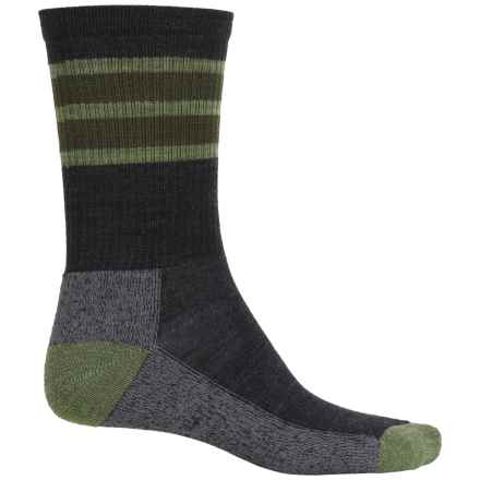 SmartWool Striped Lightweight Hike Socks - Merino Wool, Crew (For Men and Women) in Charcoal - Closeouts