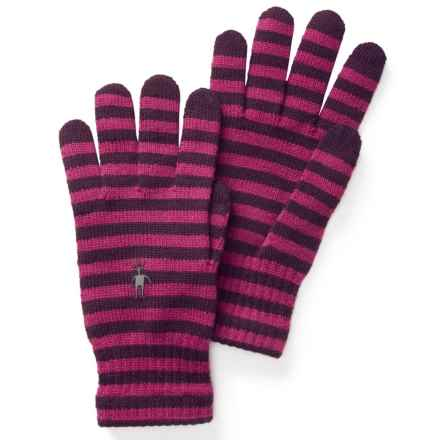 SmartWool Striped Liner Gloves - Merino Wool, Touchscreen Compatible (For Men and Women) in Aubergine/Berry - Closeouts