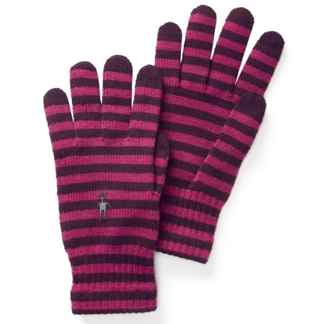 SmartWool Striped Liner Gloves - Merino Wool, Touchscreen Compatible (For Men and Women) in Aubergine/Berry
