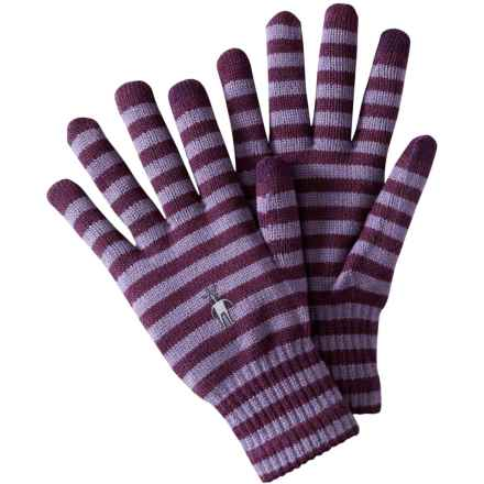 SmartWool Striped Liner Gloves - Merino Wool, Touchscreen Compatible (For Men and Women) in Aubergine Heather - Closeouts